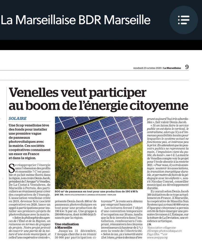 Article La Marseillaise 23-10-20